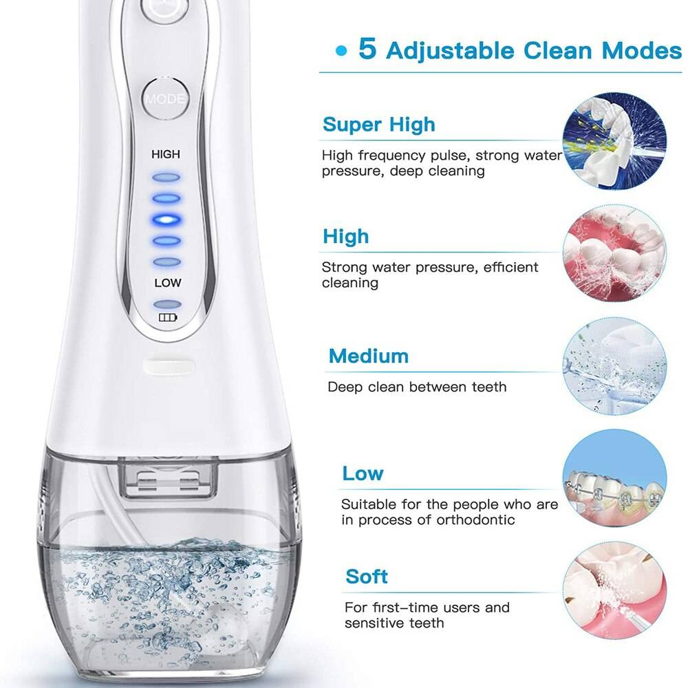 Water Flosser 300ML IPX7 Waterproof Cordless Dental Oral Irrigator Portable and Rechargeable Water Flossing Home and Travel Smart Techs, Better Living https://techs-market.com https://techs-market.com/product/water-flosser-300ml-ipx7-waterproof-cordless-dental-oral-irrigator-portable-and-rechargeable-water-flossing-home-and-travel/