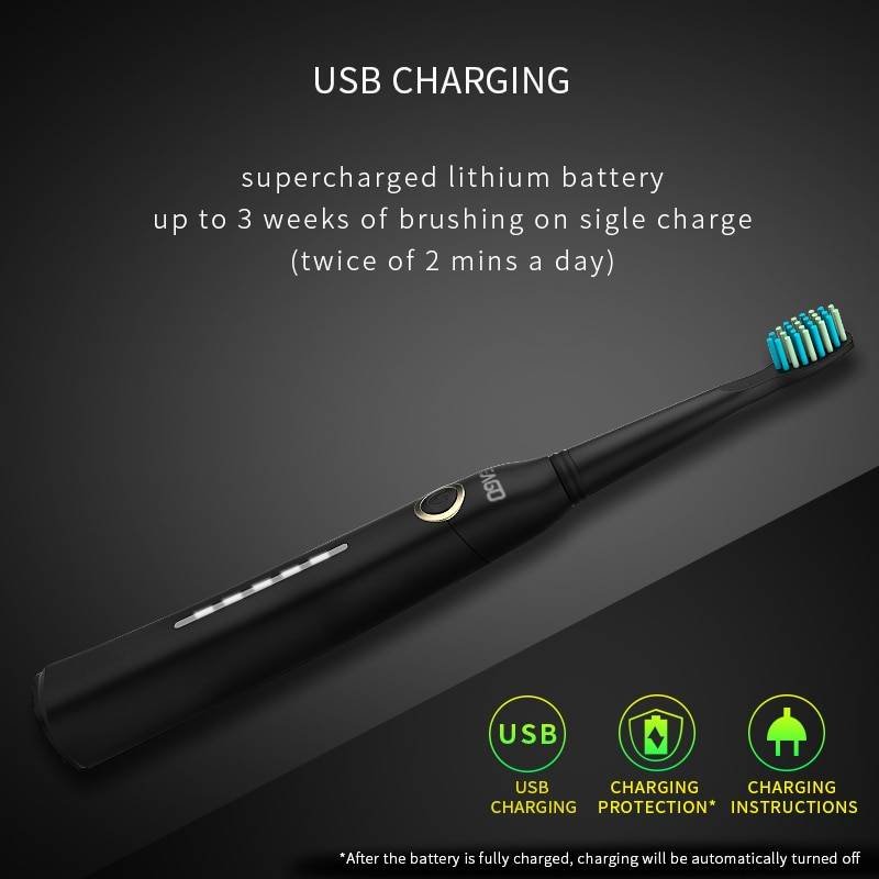 Seago Sonic Electric Toothbrush Tooth brush USB Rechargeable adult Waterproof Ultrasonic automatic 5 Mode with Travel case